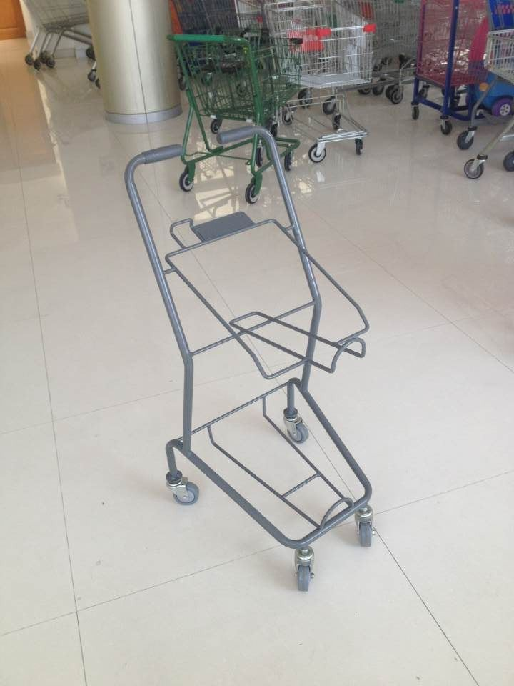 Colorful Steel Shopping Basket Trolley With PVC / PU / TPR Wheel