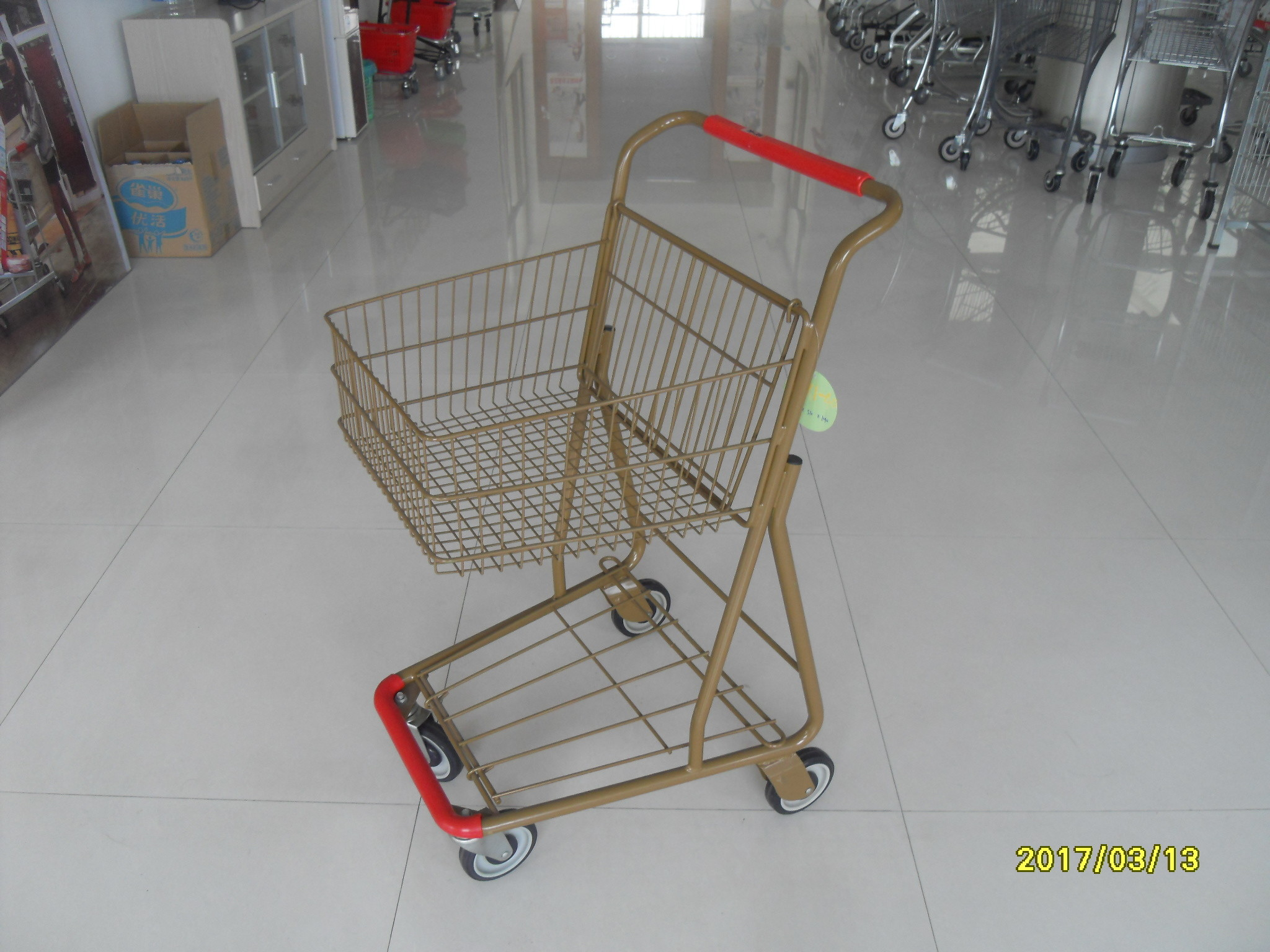 Supermarket 40 L Singel Basket Metal Shopping Cart With Wheels And Front Bumper