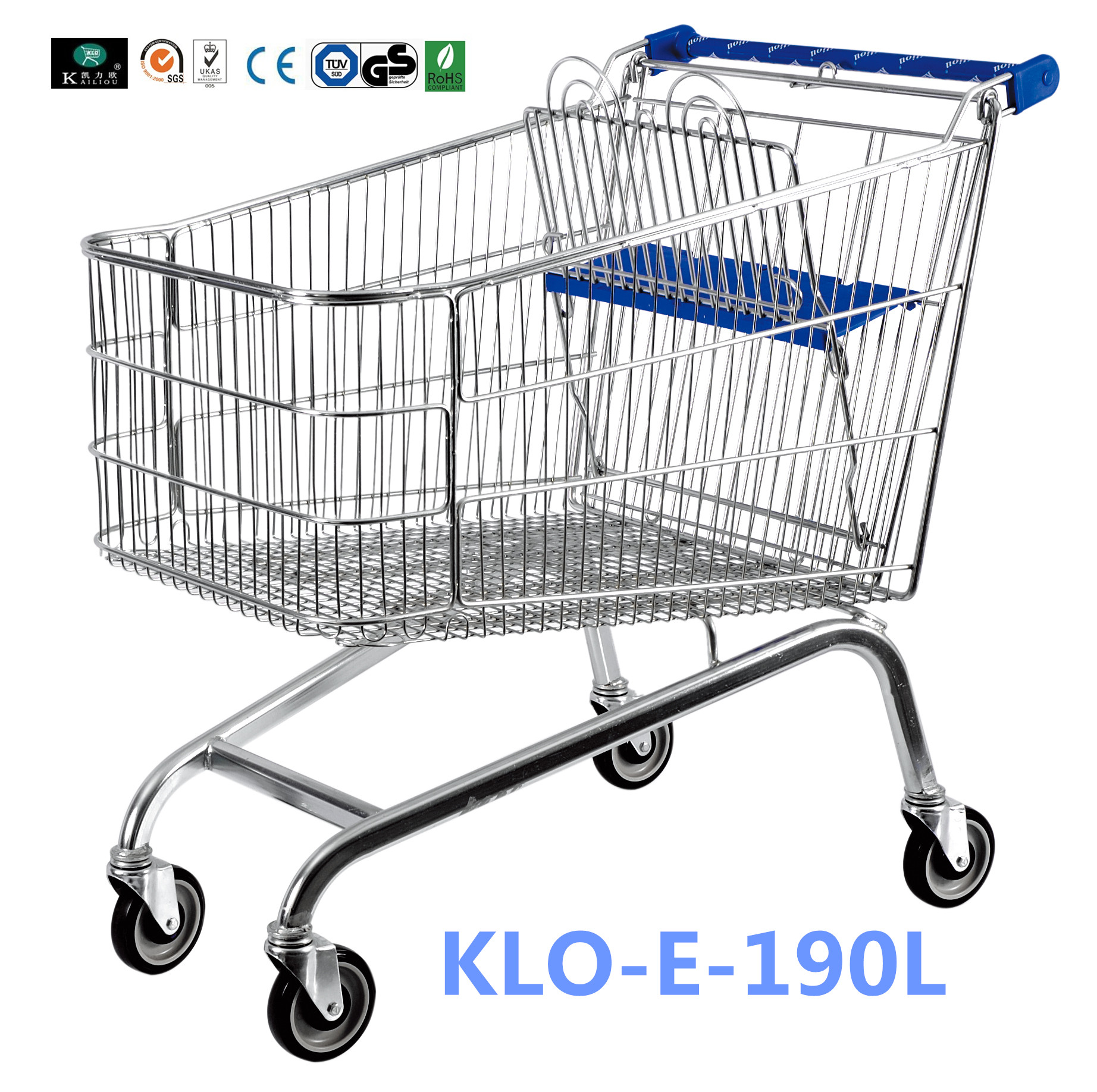 Unfoldable 190 Litre UK Shopping Cart / Metal Shopping Carts For Kids