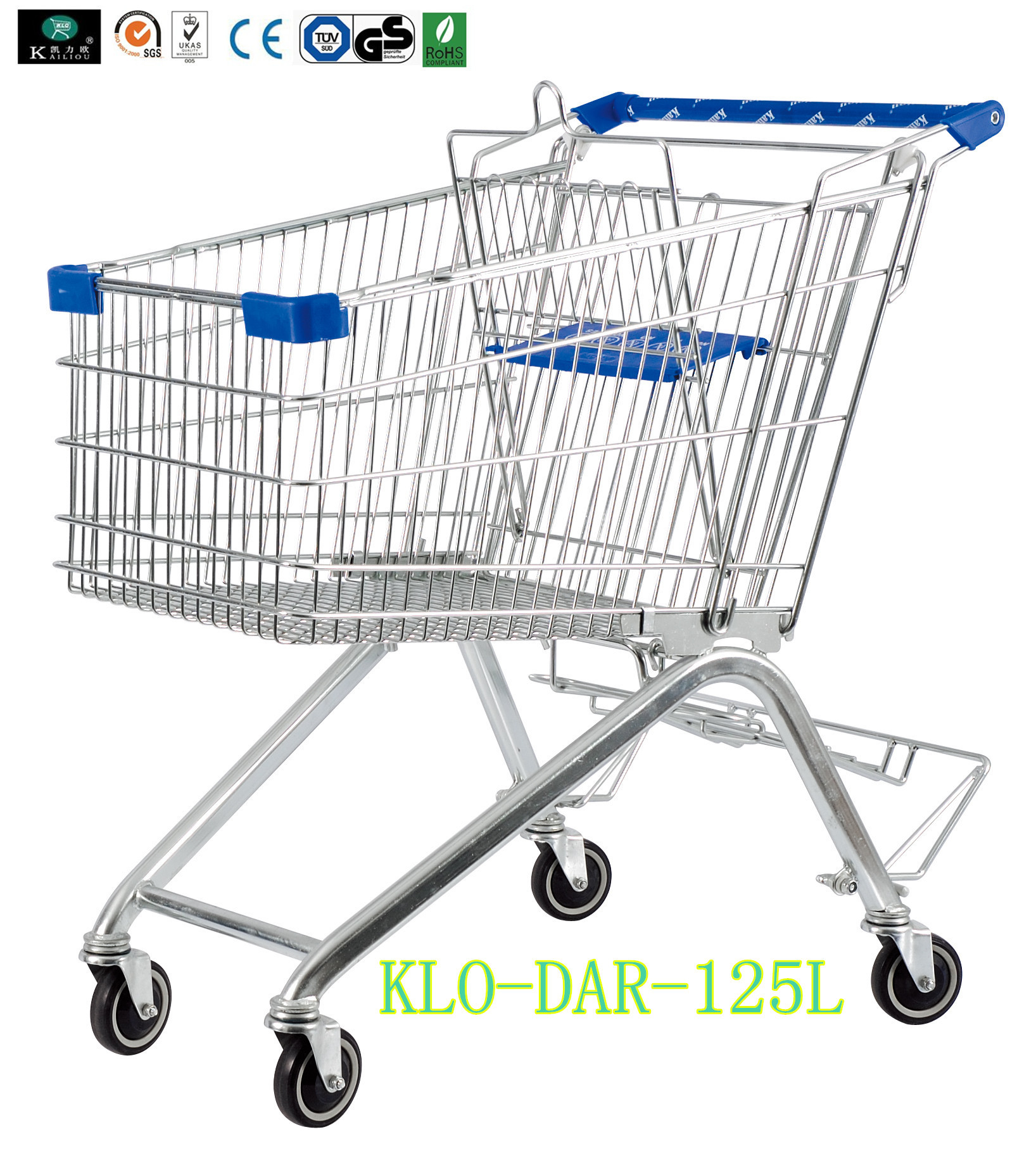 125L Toddler Metal Supermarket Cart With Beer Rack / 4 Swivel 4 Inch PU Wheel