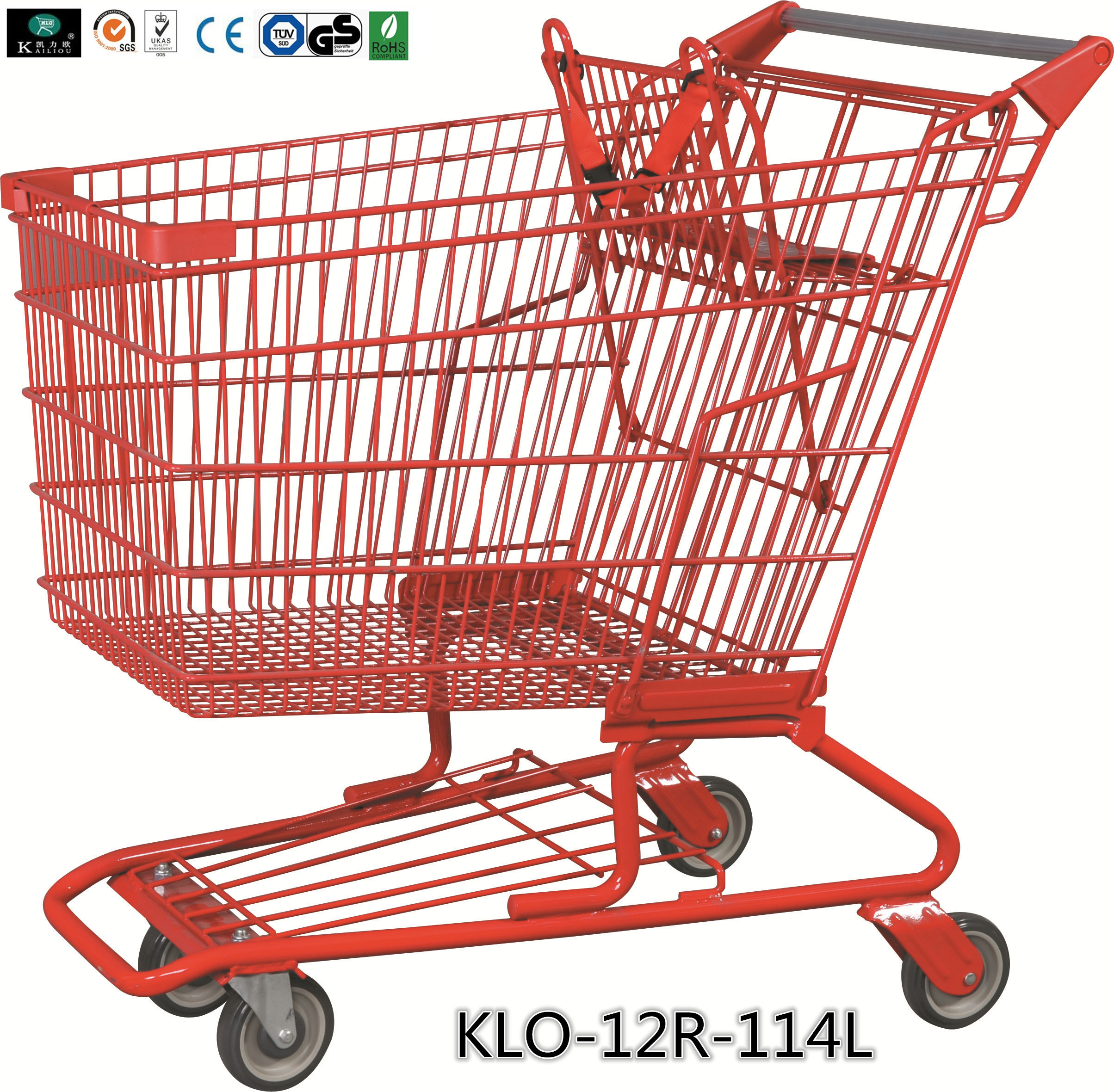 Red Powder Coating Small Metal Shopping Carts For Seniors / Grocery Shopping Trolley
