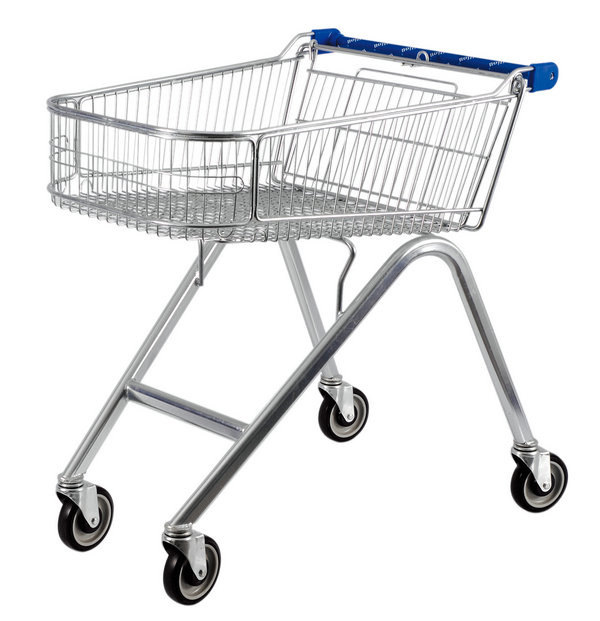 American Style 71L UK Shopping Cart With Base Grid , Grocery Shopping Trolley