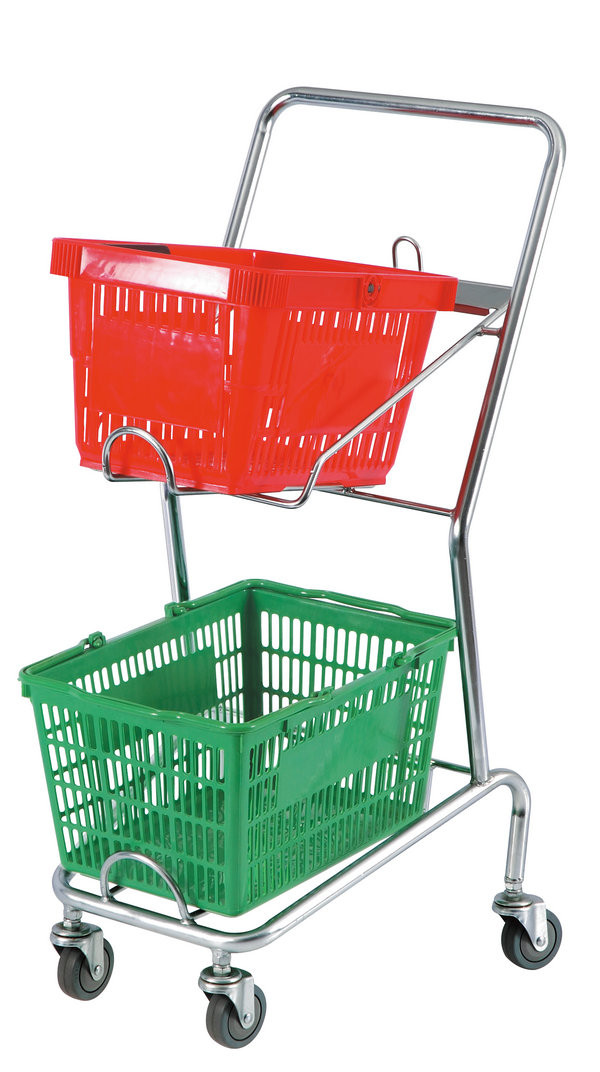 Commercial Four Wheel Double Basket Shopping Trolley Cart 520x425x1010mm